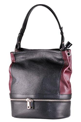 BORDERLINE - 100% Made in Italy - Bucket Tasche aus echtem Leder - CECILIA Blaue Nacht/Bordeaux