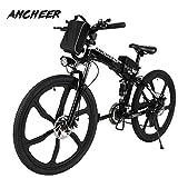 ANCHEER Elektrofahrrad 26 Zoll E- Bike Mountainbike, 25-50km/h Meilen Kilometerstand, 36V 8AH Abnehmbarer Akku and 21 Gang Getriebe