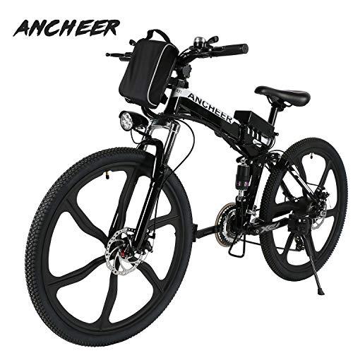 ANCHEER Elektrofahrrad Faltbares Mountainbike, 26 Zoll Reifen Elektrisches Fahrrad Ebike mit 250W bürstenlosem Motor und 36V 8Ah Lithium-Batterie Shimano 21 Gang (Mountain_schwarz 1)