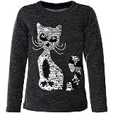 Mädchen Kinder Pullover Pulli Wende-Pailletten Sweatshirt 21547, Farbe:Schwarz, Größe:146