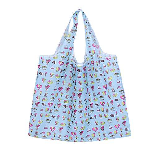 Janly Lagerung Tasche,Frauen Einkaufen Reisen Umhänge Taschen Falten Eco Grocery Handtasche Tote Pouch Bag Organizer (E) -