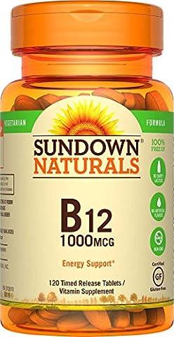 Sundown Naturals Vitamin B12 Tablets, 1000 mcg, 60 Count by Sundown