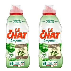 Le Chat - Essentiel - Lessive Liquide Super Concentrée - Eucalyptus - Flacon 1 L / 27 Lavages - Lot de 2