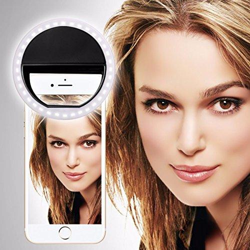Spyrox - LG Escape 2 Selfie Ring Licht 36 LED Licht Ring ergänzende Selfie Beleuchtung Nacht oder Dunkelheit Selfie Verbesserung für Fotografie 3 Helligkeitsstufen einstellbar - Schwarz