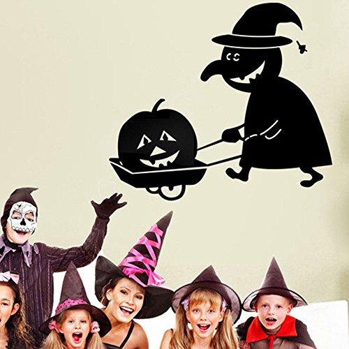 Topmountain halloween zucca strega adesivi murali decalcomania spaventosa casa orribile decorazioni per feste