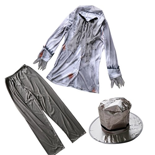 Anzug Zombie Kostüm - D DOLITY Lustige Zombie Kostüm Geist Herren Kostüm Cosplay Anzug Halloween / Karneval / Kostümparty Zubehör