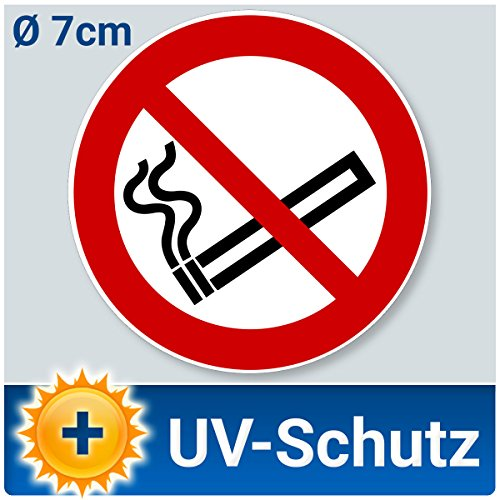 10 Stück Aufkleber Rauchen verboten, Ø 7cm, Rauchverbot Nichtraucher Piktogramm UV-Schutz (Outdoor geeignet), Aussenklebend für Büro, Werkstatt, Gaststätte, Garage etc