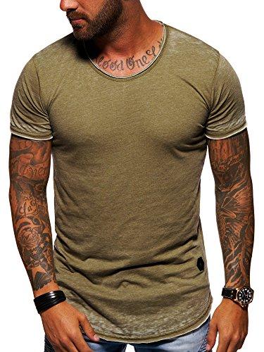 Vintage Khaki (behype. Herren Oversize Kurzarm T-Shirt Rundhals O-Neck Vintage Shirt 20-1740 Khaki M)
