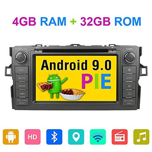 7 Zoll 2 DIN Android 9.0 Octa Core 4 GB RAM Autoradio Stereo für Toyota Auris 2007 2008 2009 2010 2011 mit Bluetooth GPS Navigation DVD Player Unterstützung RDS DAB+ WiFi Kamera In AV Out