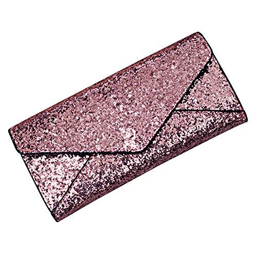 Geldbörse für Damen, Sasairy Glitzer lang Geldbeutel Groß & Klein 2 Brieftasche Kartenfächer/Geldscheinfächer/Bildfach/Münzfach Mädchen Portemonnaie-Pink