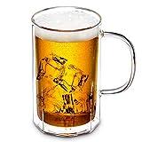 ZENS Bierglas 0.55 Liter doppelwandige Gläser, Bierkrug mit Henkel, Weingläser aus Borosilikatglas, für Bier Cocktails Tee Softdrinks Macchiato Mojitos