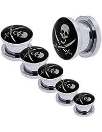 1x o Set Kit Túnel Dilataciones Acero inoxidable Pendientes Piercing Expansor Stretcher Pirata Negro Ø 3