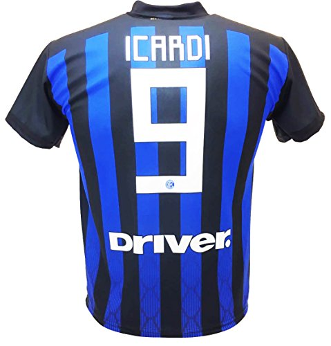 Soccer Football T-Shirt MAURO ICARDI Maurito 9 F.C. INTER Home Jersey Black  and Blue 14ab918dc8b6