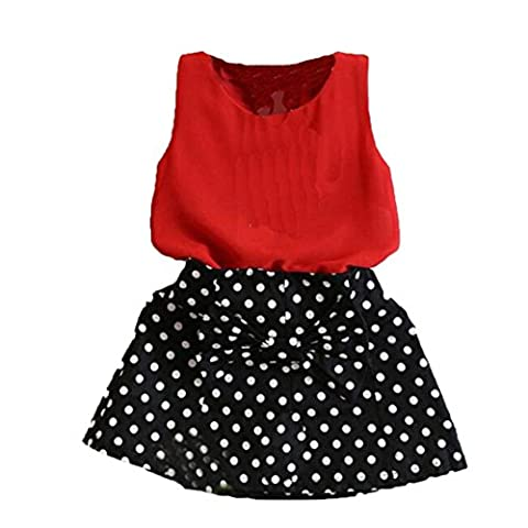 Amlaiworld Filles veste plissé robe deux pièces enfants jupe Set 2-7 ans (5-6 ans, rouge)