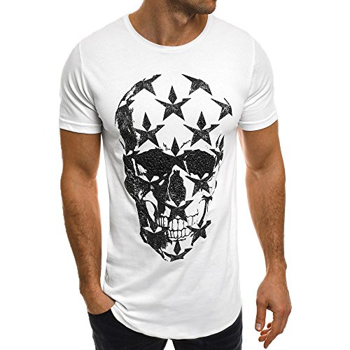 Ulanda-EU Mens T-Shirts Summer Star Skull Printed Short Sleeve Tops Casual Formal Regular Fit Blouse for Men Shirts Clothes Clearance