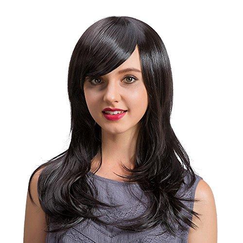 (Luckhome Perücke Damen Echthaar Lange Perrücke Frauen Langes Lockiges Gewelltes Haar Keine Spitzefrontperücke Volles Perücken Wig Haare Wigs(D))