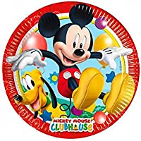 Perona-81840 Pack 8 Platos 20 cm, Mickey Mouse, Multicolor, (Procos