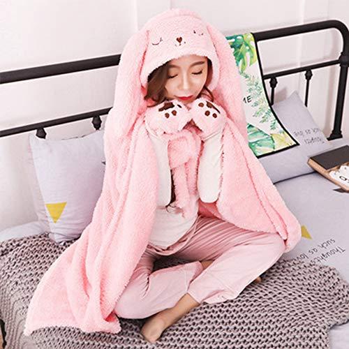 Anime Mit Kapuze Mantel Flanell Cape Hoodies Für Schlaf Nickerchen Critter Decken Home Office Decke zu halten warm im Winter Winter Geschenk,Pinkrabbit