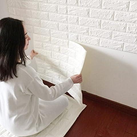 3D de ladrillos papel pintado, YIBANBAN 3d estéreo de papel pintado adhesivo de pared papel para pared extraíble autoadhesiva Papel pintado para dormitorio sala de estar moderna Antecedentes TV