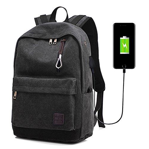 Brinny Business Wasserbeständig Polyester Laptop Rucksack mit USB-Ladeanschluss und viele Fächer Schwarz