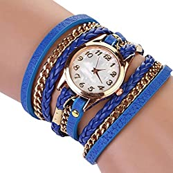 PromiseU Women Synthetic Leather Strap Watch-Dark Blue