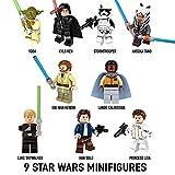 Minifigures STAR WARS - Lot de 9 pièces - Mini Figurines de Luke Skywalker, Han Solo, Princess Leia, Yoda, Obi Wan Kenobi, Lando Calrissian, Kylo Ren, Stormtrooper et Ahsoka Tano - Compatible avec LEGO, de New Galaxy