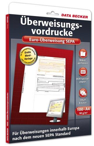 Data Becker 310668 Überweisungsvordrucke Euro-Überweisung SEPA