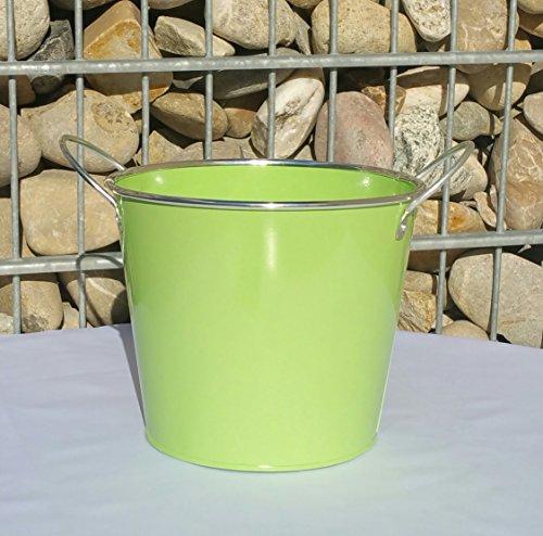 Blumentopf grün Pflanztopf Übertopf Metall mit 2 Griffen 50057