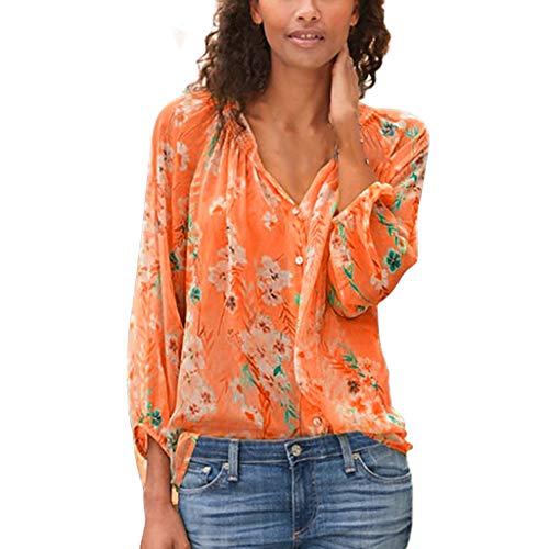 Dorical Herbst Damenhemden,Große Größe Damen Bluse Langarm Oberteil V-Ausschnitt Blumendruck Casual Lose Strand Tunika Tops Mode Hemdbluse,Ideal für Party und Oktoberfest Gr S-5XL(Orange,3XL)