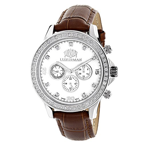Diamond Watches For Men: LUXURMAN Liberty Diamond Bezel Watch White MOP 2ct