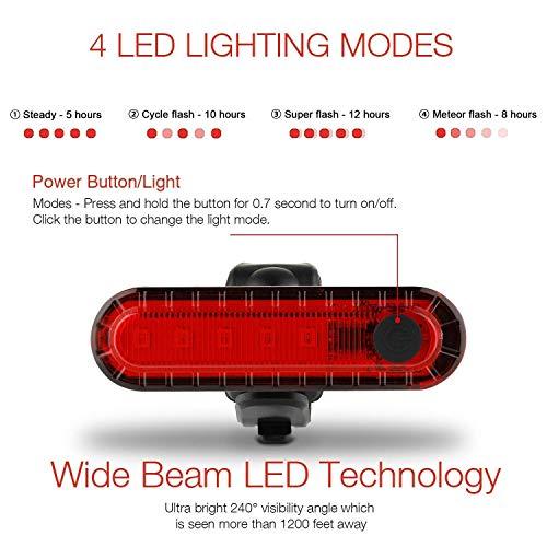 Luce Posteriore per Bicicletta, Ricaricabile USB per Bicicletta a LED, Potente Faro a LED Luce Posteriore per Bici Lampada Impermeabile e Facile da installare