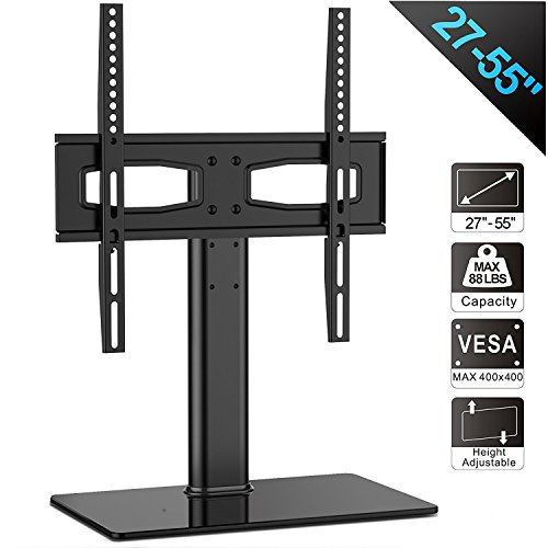 FITUEYES Tabletop TV Stand Pedestal Bracket Mount for 27 to 55 inch LCD LED Plasma TV, Height Adjustable TT104201GB