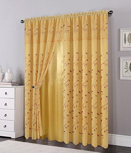Eleganten Komfort Luxus Vorhang/Fenster Panel Set mit angebracht Querbehang und Backing 137,2x 213,4cm (Set von 2) gold
