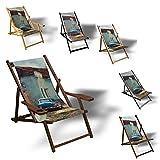 Printalio Cuba - Liegestuhl Bedruckt Balkon Garten Sonnenliege Relax Holz Terrasse   mit Armlehne, Natur