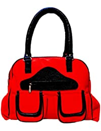 Angel & Rayon Glam Fancy Stylish Handbag For Women, Ladies And Girls (Red, Black)