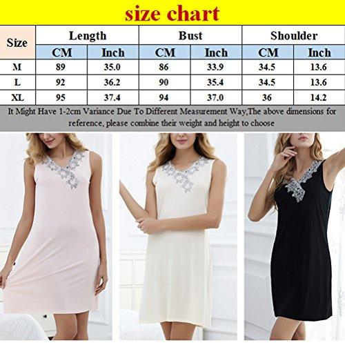 Zhhlaixing 3 Color Womens Breathable Sleep Skirt Fashion Solid color Sleeveless Pajamas Black