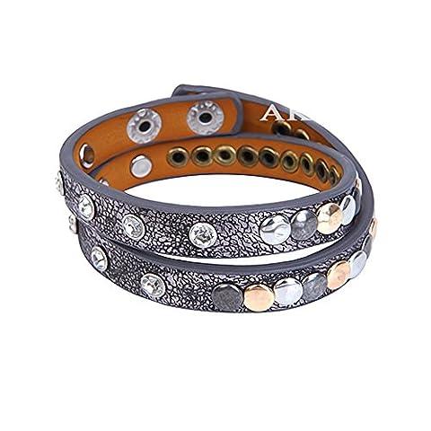 Akki Damen Strass Armband Wickelarmband Armschmuck mit echten Kristallen in schwarz Rosegold und mehr Farben / Vintage Nietenarmband mit Strass und verschiedenfarbigen Perfectes Geschenk für freundin oder liebsten schöner schmuck Grau