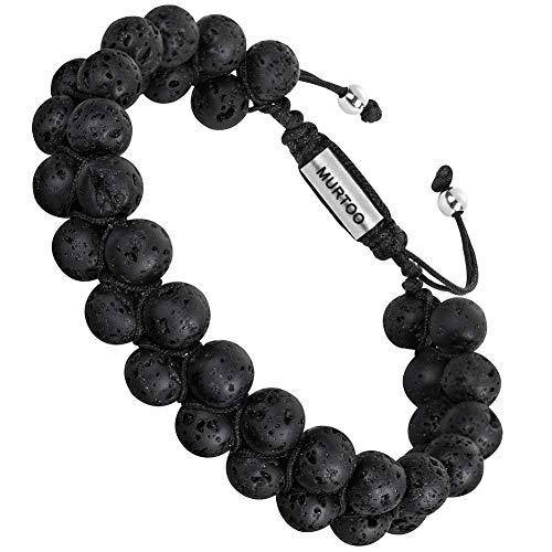 Armband Männer Perlenarmband Lava Rock Stein Armband mit Einstellbar Verschluss in Edelstahl 7\'\'- 9 Schwarze Bälle (Große)