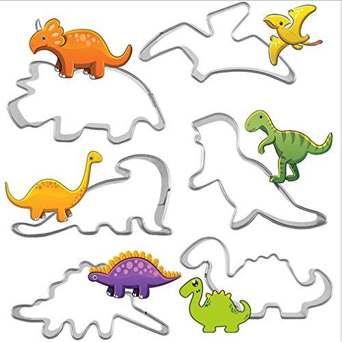 VWH 6 pcs Dinosaure Cutter Décor Fondant Gâteau Coupeurs de Décoration De Gâteau Outils