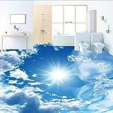 Kuamai Benutzerdefinierte Mural Tapete Modernen Blauen Himmel Sonnenschein Bodenfliesen Aufkleber Bad Pvc Selbstklebende Wasserdichte Boden Tapete 3D-280X200cm