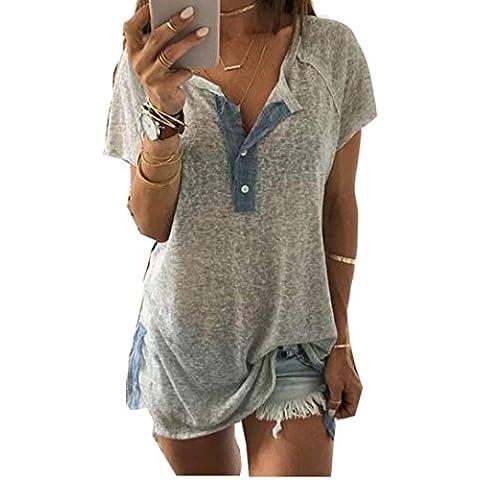 FEITONG Mujeres sueltan el botón de la blusa ocasional T camisetas sin mangas camiseta
