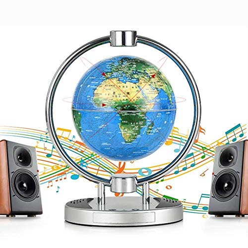 WSJ WSJSchwimmender Globe 15,2 cm Schwerkraft-Kugel mit LED-Lichtern, magnetische Feldaufhängung, Weltkarte, pädagogisches Home-Schreibtisch-Display, mit Bluetooth-Lautsprecher -