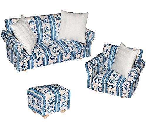 3 tlg. Set: Miniatur Wohnlandschaft / Sofa Couch + Sessel + Hocker mit Kissen - für Puppenstube Maßstab 1:12 - blau & weiß gemustert - Puppenhaus Puppenhausmöbel Sessel Wohnzimmer Klein - für Wohnzimmerlandschaft - Puppensofa - Möbel - Miniatur Diorama