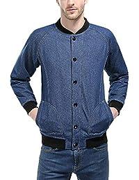 GladiolusA Giacca in Denim da Uomo Giacche di Jeans Giubbotto Bomber Jacket  Outwear 853b684a1a6