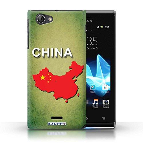 Kobalt® Imprimé Etui / Coque pour Sony Xperia J (ST26i) / Brésil conception / Série Drapeau Pays Chine/Chinois