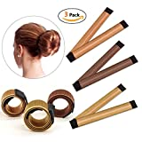 IBEET Bun Hair Maker, Magic Hair Styling Donut Bun Maker, Hair Bun Shapers for Women Girls DIY Hairstyle Tools, 3 Pack(Brown/Red-brown/Yellow Brown)
