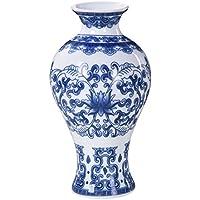 Vintage estilo chino azul y blanco Jarrón de porcelana cerámica Mini jarrón para decoración ...