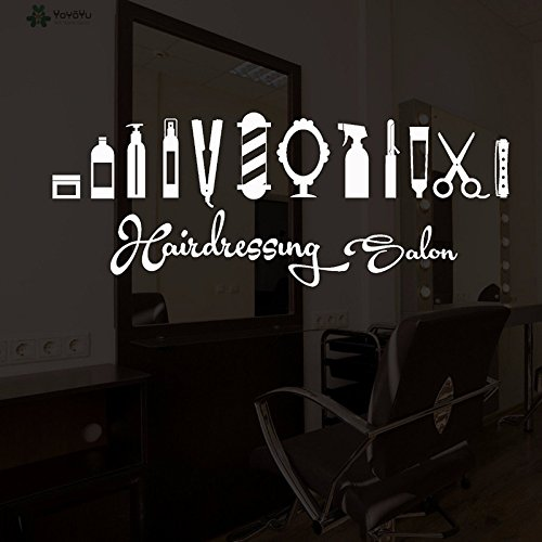 Pegatina pared vinilo blanco escaparates para peluquerias unisex o caninas deco parede y espejos de 52 x 20 cm CHIPYHOME