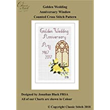 Golden Wedding Anniversary Window Cross Stitch Pattern