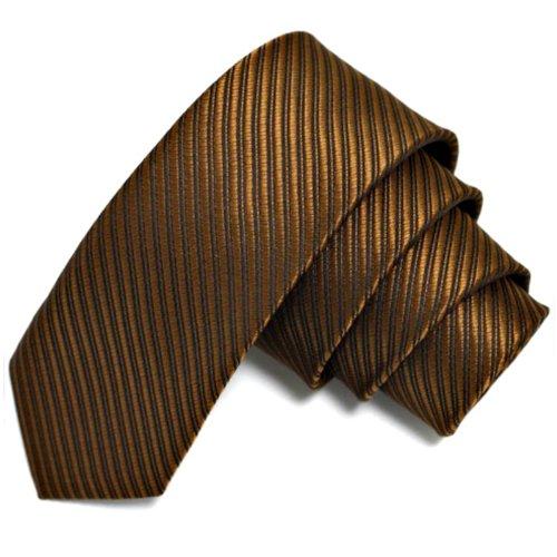 GASSANI Braune schmale dünne 5cm Krawatte gestreift | Skinny Herrenkrawatte Braun zum Sakko Anzug | Schlips Binder einfarbig mit Streifen